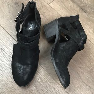 SODA Zip Chunky Black Low Heel Ankle Booties Boots